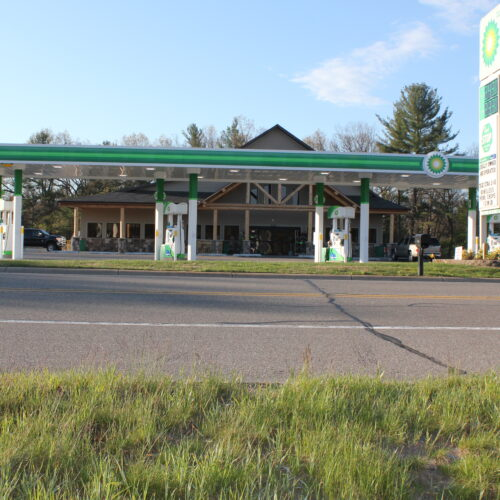 Front View Of A Gasoline Station